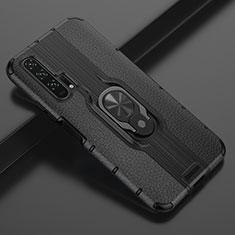 Custodia Silicone Morbida In Pelle Cover con Magnetico Anello Supporto T03 per Huawei Honor 20 Pro Nero