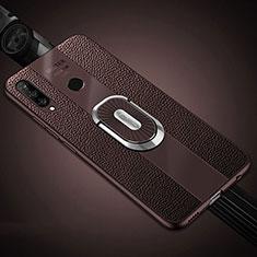 Custodia Silicone Morbida In Pelle Cover con Magnetico Anello Supporto T03 per Huawei P30 Lite New Edition Marrone