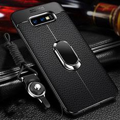 Custodia Silicone Morbida In Pelle Cover con Magnetico Anello Supporto T03 per Samsung Galaxy S10e Nero