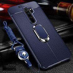 Custodia Silicone Morbida In Pelle Cover con Magnetico Anello Supporto T03 per Xiaomi Redmi Note 8 Pro Blu