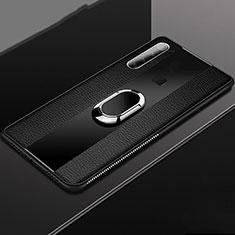 Custodia Silicone Morbida In Pelle Cover con Magnetico Anello Supporto T03 per Xiaomi Redmi Note 8T Nero