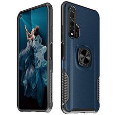 Custodia Silicone Morbida In Pelle Cover con Magnetico Anello Supporto T04 per Huawei Honor 20 Pro Blu