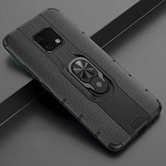 Custodia Silicone Morbida In Pelle Cover con Magnetico Anello Supporto T04 per Huawei Mate 20 Pro Nero