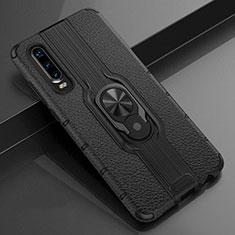 Custodia Silicone Morbida In Pelle Cover con Magnetico Anello Supporto T04 per Huawei P30 Nero