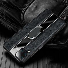 Custodia Silicone Morbida In Pelle Cover con Magnetico Anello Supporto T04 per Huawei P40 Lite Nero