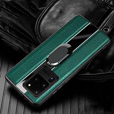 Custodia Silicone Morbida In Pelle Cover con Magnetico Anello Supporto T04 per Samsung Galaxy S20 Ultra 5G Verde