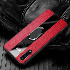 Custodia Silicone Morbida In Pelle Cover con Magnetico Anello Supporto T05 per Huawei P30 Lite Rosso