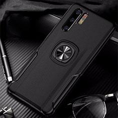 Custodia Silicone Morbida In Pelle Cover con Magnetico Anello Supporto T05 per Huawei P30 Pro Nero