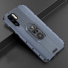 Custodia Silicone Morbida In Pelle Cover con Magnetico Anello Supporto T06 per Huawei P30 Pro Blu