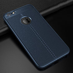 Custodia Silicone Morbida In Pelle Cover D01 per Apple iPhone 6S Blu