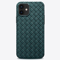 Custodia Silicone Morbida In Pelle Cover H01 per Apple iPhone 12 Mini Verde