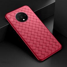 Custodia Silicone Morbida In Pelle Cover H01 per OnePlus 7T Rosso