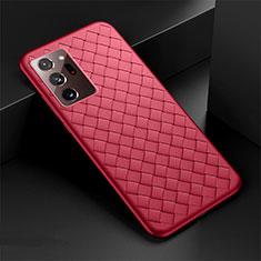 Custodia Silicone Morbida In Pelle Cover H01 per Samsung Galaxy Note 20 Ultra 5G Rosso
