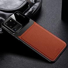 Custodia Silicone Morbida In Pelle Cover H01 per Samsung Galaxy S20 Ultra 5G Marrone
