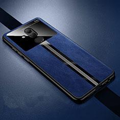 Custodia Silicone Morbida In Pelle Cover H02 per Huawei Mate 20 Lite Blu