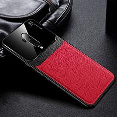 Custodia Silicone Morbida In Pelle Cover H02 per OnePlus 7T Pro Rosso