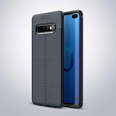 Custodia Silicone Morbida In Pelle Cover H02 per Samsung Galaxy S10 Plus Blu