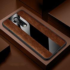 Custodia Silicone Morbida In Pelle Cover H03 per OnePlus 7T Pro Marrone