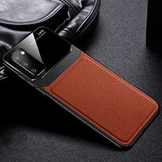 Custodia Silicone Morbida In Pelle Cover H04 per Samsung Galaxy S20 5G Marrone
