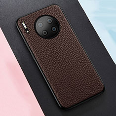 Custodia Silicone Morbida In Pelle Cover H05 per Huawei Mate 30 5G Marrone