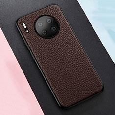 Custodia Silicone Morbida In Pelle Cover H05 per Huawei Mate 30 Pro Marrone