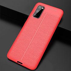 Custodia Silicone Morbida In Pelle Cover H05 per Samsung Galaxy S20 5G Rosso