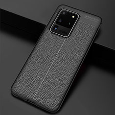 Custodia Silicone Morbida In Pelle Cover H06 per Samsung Galaxy S20 Ultra 5G Nero