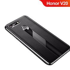 Custodia Silicone Morbida In Pelle Cover M01 per Huawei Honor View 20 Nero