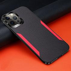 Custodia Silicone Morbida In Pelle Cover N01 per Apple iPhone 12 Pro Max Nero