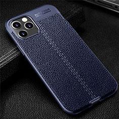 Custodia Silicone Morbida In Pelle Cover per Apple iPhone 12 Max Blu