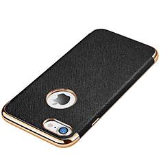 Custodia Silicone Morbida In Pelle Cover per Apple iPhone 7 Nero