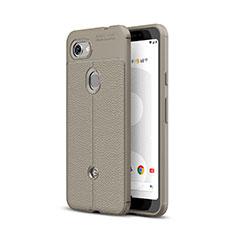 Custodia Silicone Morbida In Pelle Cover per Google Pixel 3a Grigio