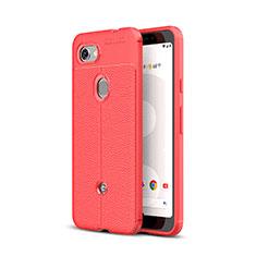 Custodia Silicone Morbida In Pelle Cover per Google Pixel 3a Rosso