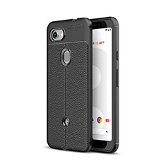Custodia Silicone Morbida In Pelle Cover per Google Pixel 3a XL Nero