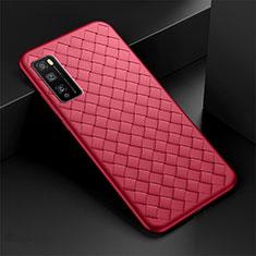 Custodia Silicone Morbida In Pelle Cover per Huawei Enjoy 20 Pro 5G Rosso