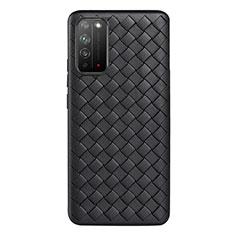 Custodia Silicone Morbida In Pelle Cover per Huawei Honor X10 5G Nero