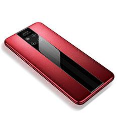 Custodia Silicone Morbida In Pelle Cover per Huawei Mate 20 RS Rosso