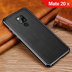 Custodia Silicone Morbida In Pelle Cover per Huawei Mate 20 X Nero