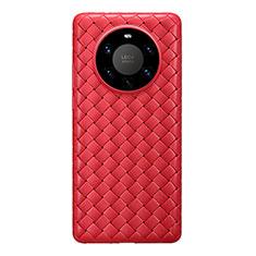 Custodia Silicone Morbida In Pelle Cover per Huawei Mate 40 Pro+ Plus Rosso