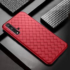 Custodia Silicone Morbida In Pelle Cover per Huawei Nova 5 Rosso