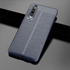 Custodia Silicone Morbida In Pelle Cover per Huawei P30 Blu