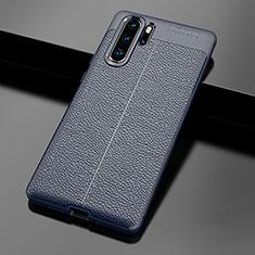 Custodia Silicone Morbida In Pelle Cover per Huawei P30 Pro Blu