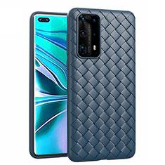 Custodia Silicone Morbida In Pelle Cover per Huawei P40 Pro+ Plus Blu