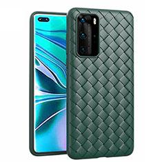 Custodia Silicone Morbida In Pelle Cover per Huawei P40 Pro Verde