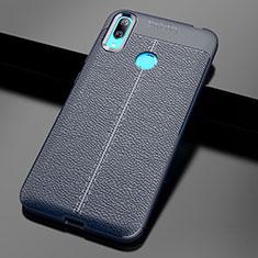 Custodia Silicone Morbida In Pelle Cover per Huawei Y7 Pro (2019) Blu