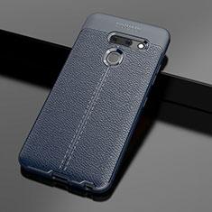 Custodia Silicone Morbida In Pelle Cover per LG G8 ThinQ Blu