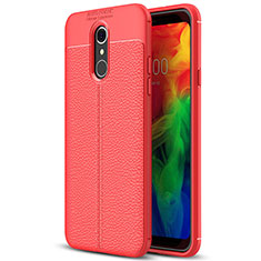 Custodia Silicone Morbida In Pelle Cover per LG Q7 Rosso