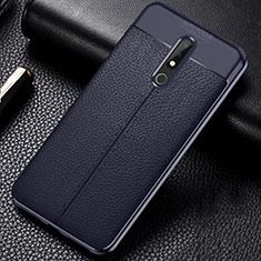 Custodia Silicone Morbida In Pelle Cover per Nokia X5 Blu