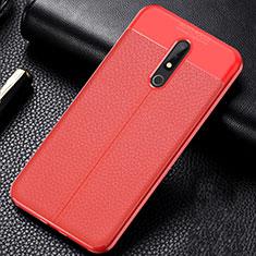Custodia Silicone Morbida In Pelle Cover per Nokia X5 Rosso