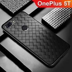 Custodia Silicone Morbida In Pelle Cover per OnePlus 5T A5010 Nero